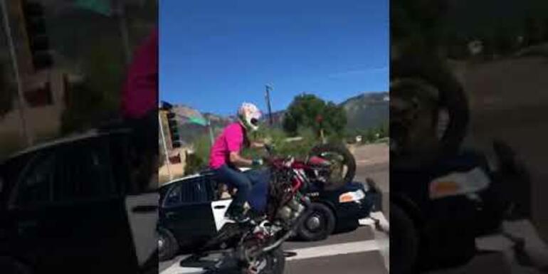 Cop Pulls Gun on Motorcyclist for Wheelie