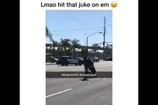 LOL. Guy Jukes Cop, Makes Him Trip on His Own Laces
