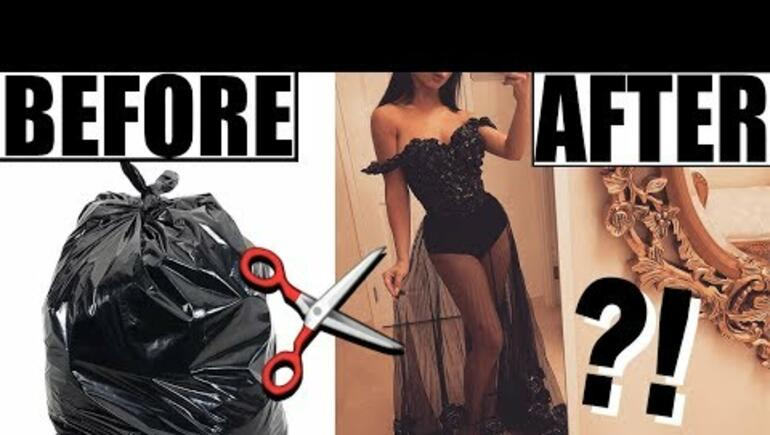 Girl makes GORGEOUS dress out of garbage bags!