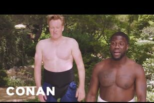 Kevin Hart and Conan sumo wrestle. This is hysterical!