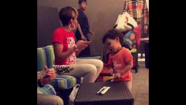 Two-year-old nails his drum solo