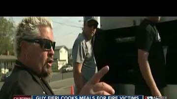 North Bay Wildfires - Guy Fieri cooks up hot meals for the California fire victims