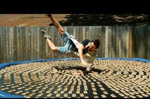 Let's waste some time: Guy dives onto a trampoline covered in mousetraps