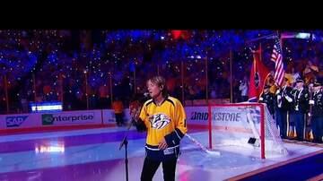 Sarah - Keith Urban sings National Anthem at Predators Game