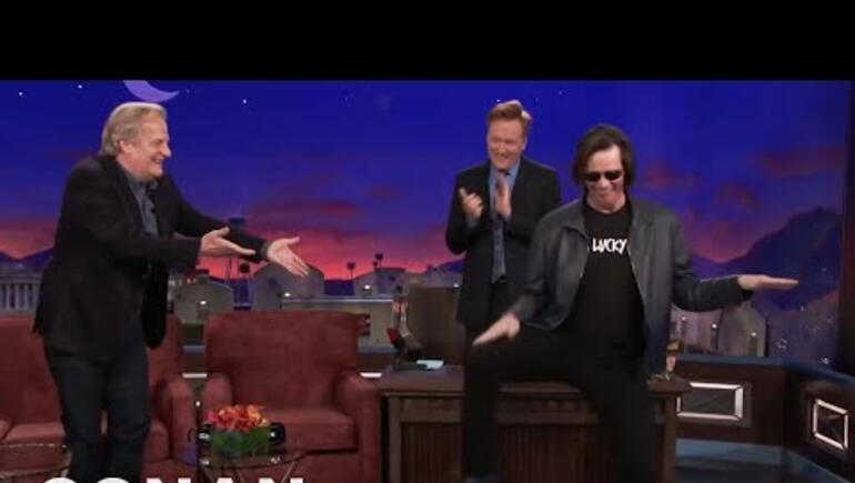Jim Carrey Crashes CONAN'S Jeff Daniels Interview