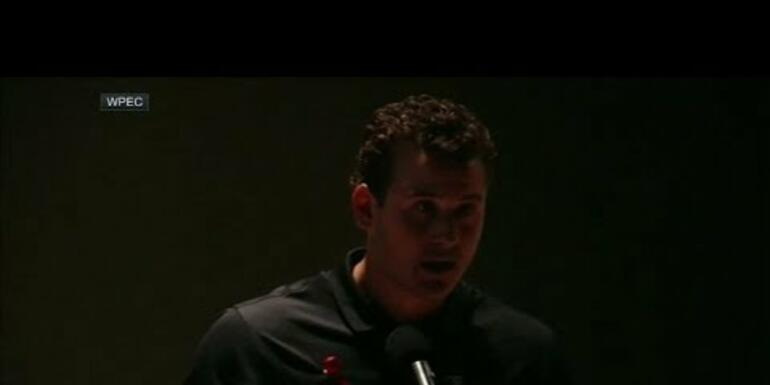 Anthony Rizzo fights back tears during vigil