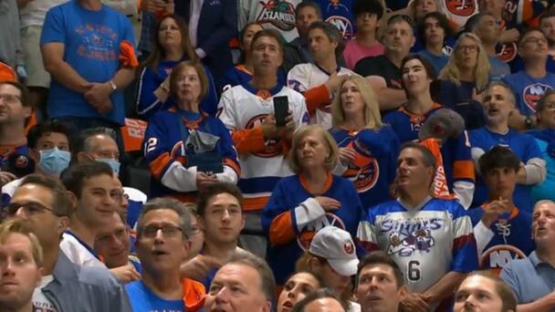 Crowd Sings National Anthem at NHL Game