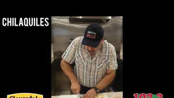 Sergio Robles with 102.3 El Patron Chilaquiles from Cloverdale Food!